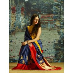 A classic old word design and colour combination  Blue and Red Handloom Silk Saree online SAAA5698 - Saree.com
