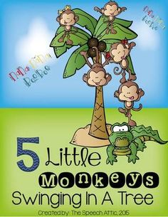 Interactive Book: 5 Little Monkeys Swinging In A Tree from The Speech Attic on TeachersNotebook.com -  (9 pages)  - This is an interactive adapted book. The download is 9 pages in length