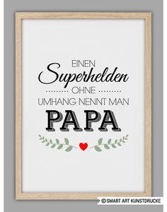 """""""SUPERHELD PAPA"""" Kunstdruck, Vatertag Geschenk"""