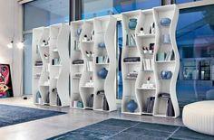 Modern Curvy Edge Bookshelves White Color for Home Library