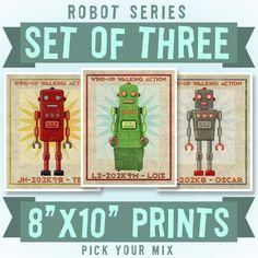Retro robot prints