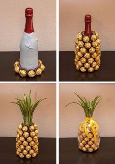 Such a cute wedding or birthday gift idea! A champagne or wine bottle covered in… Such a cute wedding or birthday gift idea! A champagne or wine bottle covered in Ferrero Rocher candies, decorated to look like a pineapple! Diy Gifts For Mom, Diy Holiday Gifts, Gifts For Coworkers, Homemade Gifts, Christmas Diy, Homemade Christmas, Christmas Carol, Christmas Presents, Handmade Gifts For Men