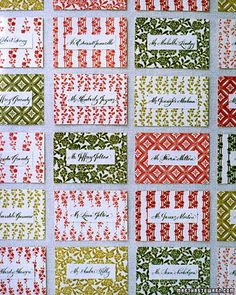 A patterned seating card display like this is sure to capture your guests' attention.
