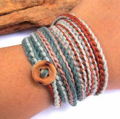Crochet wrap bracelet / necklace teal aqua spring fashion