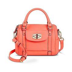 Merona Women's Solid Satchel Handbag with Turnlock Pocket - Retro Pink (€23) ❤ liked on Polyvore featuring bags, handbags, retro pink, retro handbags, pink satchel, red handbags, satchel bags and pink satchel handbags