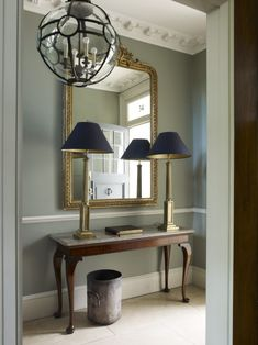 Grey hallway ideas apartment to home foyer design, wainscoti Grey Hallway, Hallway Mirror, Hallway Ideas Entrance Narrow, Entry Hall, Foyer Ideas, Hall Mirrors, Wallpaper In Hallway, Hallway Console Table, Corridor Ideas