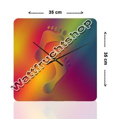 """Wanduhr """"Bunte Füße""""  Größe:  35cm x 35cm. Acrylglasplatte 5 mm dick…"""