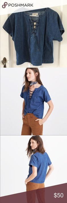 Madewell Denim Lace Up Top medium PRODUCT DETAILS Denim is a seven-days-a-week deal for us and this popover top is just another way we're doing it. A lace-up detail gives it a low-key nautical feel.  True to size. Cotton. Machine wash. Import. Item F4777. Price is firm. Madewell Tops