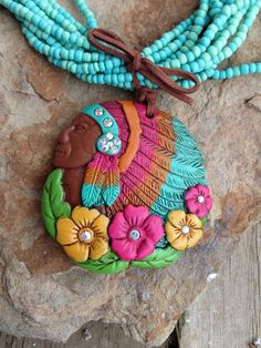 Cowgirl Bling TURQUOISE Clay INDIAN WARRIOR PRINCESS HEADDRESS Gypsy necklace #BEADEDwithpendant