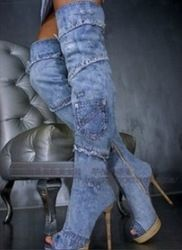 98f08e6fe7b2 Cheap boots dog, Buy Quality boots athletic directly from China boots teddy  Suppliers  Womens Peep Toe Long Boots Blue Denim Boots For Women Thin High  Heel ...
