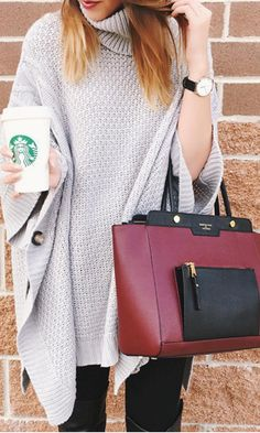 Outfit Posts: Grey Long Sleeve Loose Sweater, black jeans , wine red bag and brown boots.