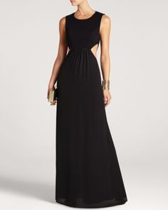 Classic sophistication meets modern edge on this stunning gown by Bcbgmaxazria that features side cutouts and a strap-detailed back. Grad Dresses, Bridesmaid Dresses, Formal Dresses, Long Dresses, Long Cocktail Dress, Maxi Gowns, Popular Dresses, Designer Gowns, Fashion Beauty