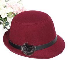 Women Stylish Rabbit Fur Hairball Felt Hat Bowler Cloche Wedding Party Cap luxuriant in design