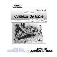 """Confettis de table """"Joyeux anniversaire """" hologramme - Noir"""