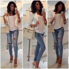 dressy casual outfit…love a white blazer that fits well! Love this outfit so in right now and so simple and clean definitely the blazer a must have piece in every girls wardrobe Mode Outfits, Fashion Outfits, Womens Fashion, Jeans Fashion, Fashion 2014, Dress Fashion, Look Fashion, Autumn Fashion, High Fashion