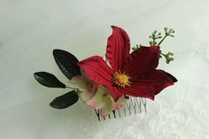 Items similar to Burgundy Clematis hair comb Wedding headpiece Red hair barrette Fall flower bridesmaids hair piece Bride hair piece Boho wedding accessory on Etsy Bridal Hair Pins, Hair Comb Wedding, Wedding Hair Pieces, Bridesmaid Flowers, Bridesmaids, Bridesmade Hair, Burnt Hair, Floral Hair, Fall Flowers