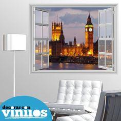 vinilos decorativos simulando una ventana de londres (big ben) Mas en http://www.decorarconvinilos.com/vinilos-decorativos/vinilo_ventana