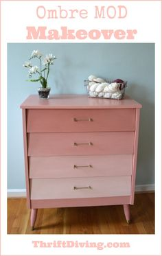 This $20 thrift store find got an upgrade with Annie Sloan Scandinavian Pink with a reverse ombre effect. - Thrift Diving Blog