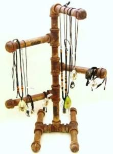 Diy display stand for rosary beads jewelry making for Copper pipe jewelry stand
