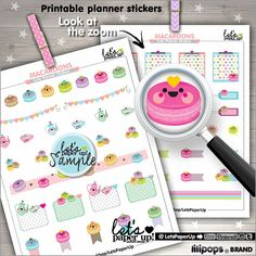 Macaron Stickers Printable Planner Stickers Tea by LetsPaperUp