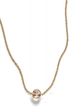 BY BOE Gold Cage Crystal Necklace