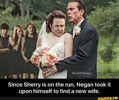 The Walking Dead - Negan takes another wife, Eugenia, while the other wives look on. Walking Dead Funny, The Walking Dead 3, Eugene Porter, Twd Memes, Talking To The Dead, New Wife, Stuff And Thangs, Daryl Dixon, Best Shows Ever