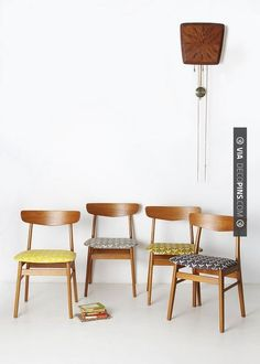 Wow - Danish chairs reupholstered and Clock | CHECK OUT MORE REMODELING IDEAS AT DECOPINS.COM | #remodeling ideas #remodel #remodeling #renovate #renovating #kitchen #kitchens #bathroom #bathrooms #kitchenremodel #bathroomremodel #bathroomfacelift #homedecor #homedecoration #decor #livingroom #walls #homeaddition