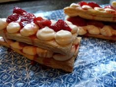 Mille-Feuille with Roast Strawberries and Mascarpone - World Food Tour Roasted Strawberries, Egg Whisk, Just Cooking, Serving Dishes, Tray Bakes, Grand Prix, Monaco, Strawberry, French