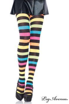 Des collants épais très colorés pour des jambes énergiques ! Bandes noires et multicolores. Maintien à la taille élastqiue.