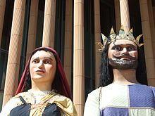 Comparsa de gigantes y cabezudos de Zaragoza. Gigantes Gaston de Bearn y Dama bearnesa