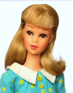 Barbie's friend Francie. This is an early Francie, with straight legs,not the bendable kind. Photo by fashiondollcollector, via Flickr