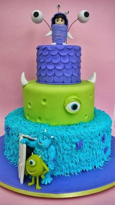 Monsters Inc. cake - For all your cake decorating supplies, please visit… Pretty Cakes, Cute Cakes, Fondant Cakes, Cupcake Cakes, Monster Inc Cakes, Character Cakes, Crazy Cakes, Cake Decorating Supplies, Novelty Cakes