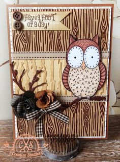 'Have a hoot of a day' - Owl Card designed by Sam Poole using 'Hoot' stamp.