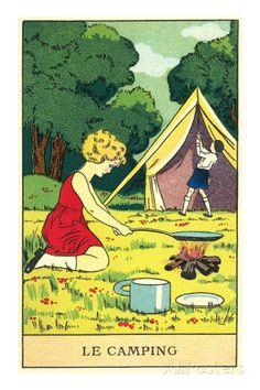 Children Camping Premium Poster