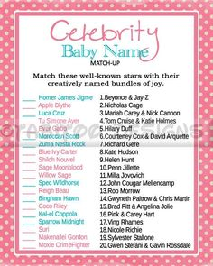 Celebrity+baby+name+match+up+baby+shower+games