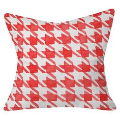 """Barn Red Social Proper Candy Houndstooth Throw Pillow (20""""x20"""") - Deny Designs"""