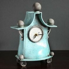 Quirky Ceramic Mantel Clock by Ian Roberts
