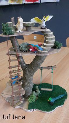 Takkenhuisje met kleine vogelpopjes