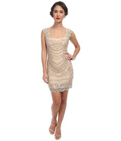 Short 1920s Great Gatsby Prom Dress, Cocktail Dress - Adrianna Papell Short Beaded Dress with Illusion (Champagne) Women's Dress