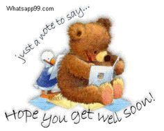 Hope you get well soon teddy note