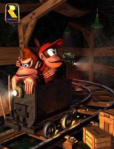 DK and Diddy ride the Minecart in Donkey Kong Country SNES Classic Video Games, Retro Video Games, Video Game Art, Mundo Dos Games, Diddy Kong, Videogames, Donkey Kong Country, O Pokemon, Sonic