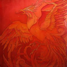 "batik scarf ""Phoenix"" - buy or order in an online shop on Livemaster - VGJ6COM. Varna | Fiery Phoenix - batik on thin brilliant foulard."