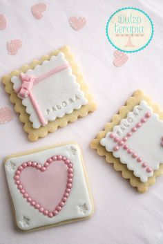Sweet Square Cookies~                     By Dulzo Terapia, pink, white, heart