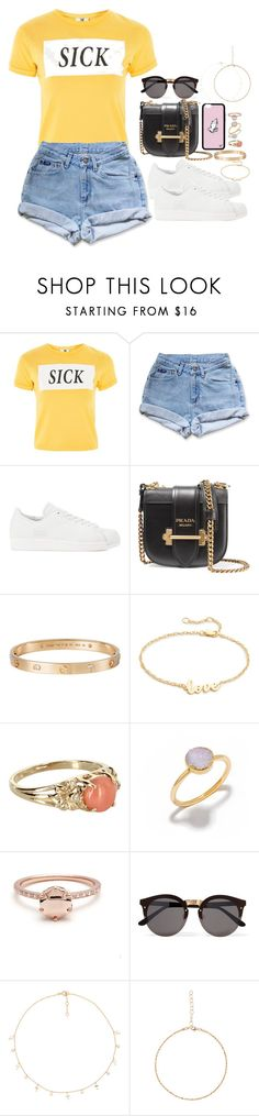 """""""new rules ~"""" by ohsnapitzblanca ❤ liked on Polyvore featuring The Ragged Priest, Levi's, adidas Originals, Prada, Cartier, Jennifer Zeuner, Vintage, Decadorn, Illesteva and Joolz by Martha Calvo"""