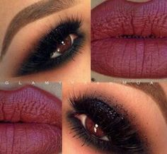 Dark smokey eye and sweet red wine lips