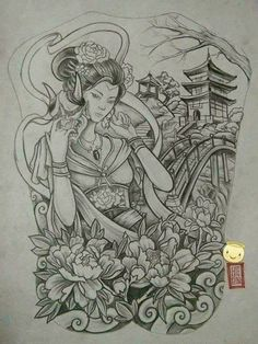 tattoos in japanese prints Japanese Geisha Tattoo, Japanese Drawings, Japanese Artwork, Japanese Tattoo Designs, Japanese Sleeve Tattoos, Japanese Prints, Japanese Temple Tattoo, Samurai Drawing, Samurai Tattoo
