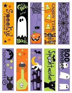 Feebie Printable Halloween Bookmarks for you to give to the kiddies in your life. attach a treat to the back of them and give out for Halloween. Made by Katie Gauger Halloween Quilts, Dulceros Halloween, Moldes Halloween, Halloween Treat Boxes, Adornos Halloween, Manualidades Halloween, Easy Halloween Decorations, Halloween Books, Halloween Stickers