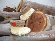 PDF crochet pattern-Crochet Cuffed Baby Booties by Rieles on Etsy