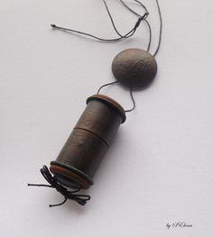 Inro pendant polymer clay handmade unisex by SelenaJewelryBijou