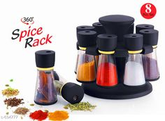 Jars & Container Useful Spice Rack With 8 Pieces Material: Plastic & Stainless Stell Description: It Has 1 Piece Of Spice Rack With 8 Pieces Country of Origin: India Sizes Available: Free Size *Proof of Safe Delivery! Click to know on Safety Standards of Delivery Partners- https://ltl.sh/y_nZrAV3  Catalog Rating: ★3.9 (5444)  Catalog Name: Useful Assorted Home & Kitchen Utilities Vol 5 CatalogID_78534 C130-SC1639 Code: 963-694777-